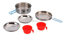 Stainless Steel outdoor camping hiking cooking set portable aluminum cooking ware kits
