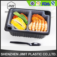 New style three-in-one plastic school lunch box with inner tray and lid