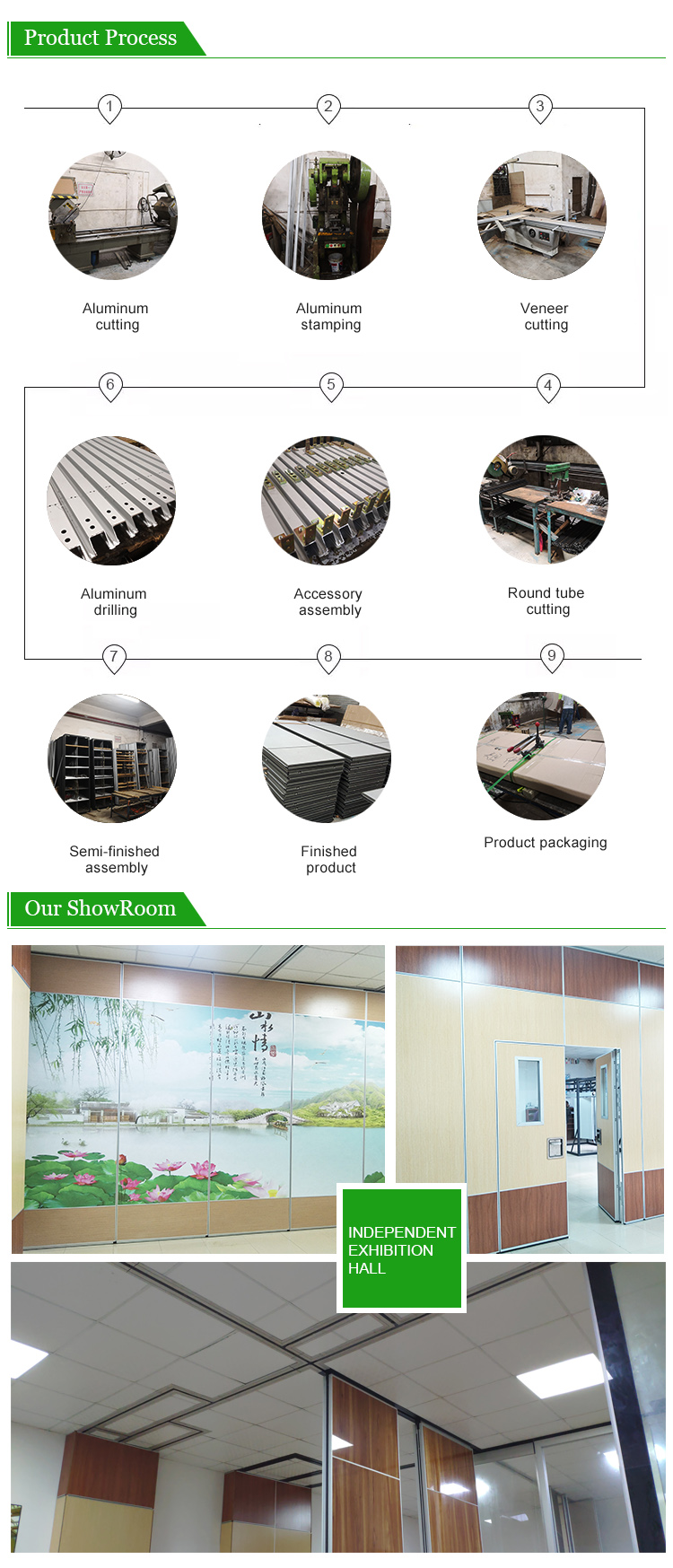 Modern Semi Automatic Hall Floor To Ceiling Soundproof Movable Partition Wall