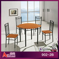 5 piece resturant PVC plastic round dining table for 4