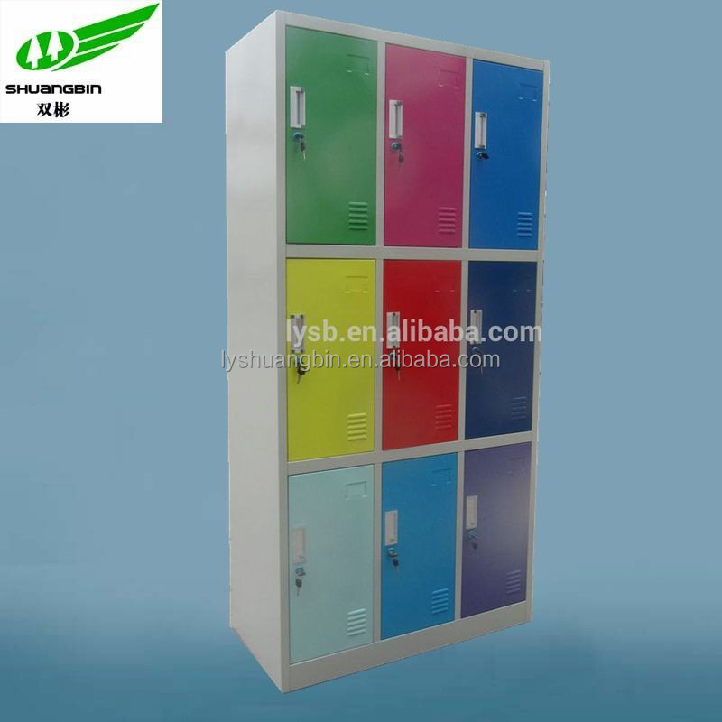 Customized full height 9 door salon color cabinet,school storage locker