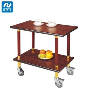 Hotel Food Wooden Wine Liquor Trolley stainless steel tea trolley