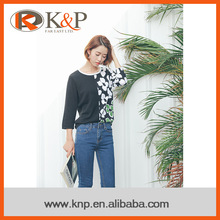 Computer knitted 100% cotton flower printing pullover fashion women sweaters