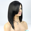 "22"" inch 1b# yaki 100% virgin brazilian hair natural black color Most fashionable china bang wigs for beauty Paypal accept"