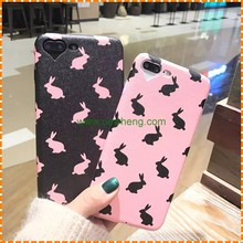 heart shape camera hole silk grain rabbit pattern leather phone case for iphone 7 7 plus