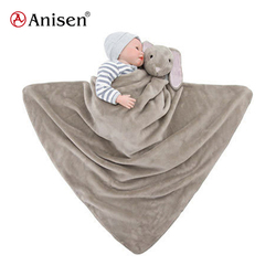 Newborn baby soft warm plush animal educational coral fleece blanket