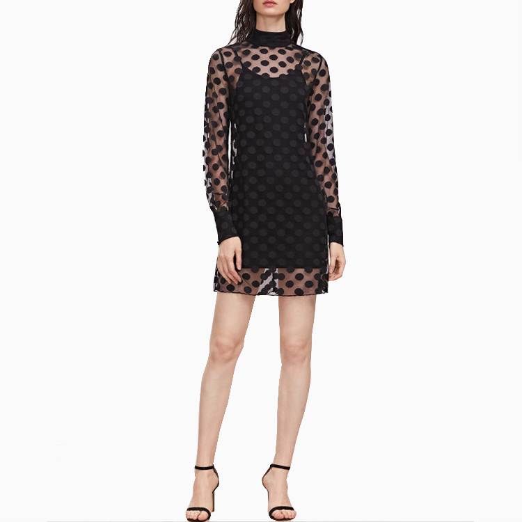 Guangzhou OEM Clothing Black Cuffed Sleeve Polka Dot Mesh Dress With Cami Dress For Women