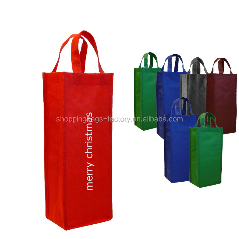 Promotional Reuse Single Bottle Wine Tote,portable wine gift bags