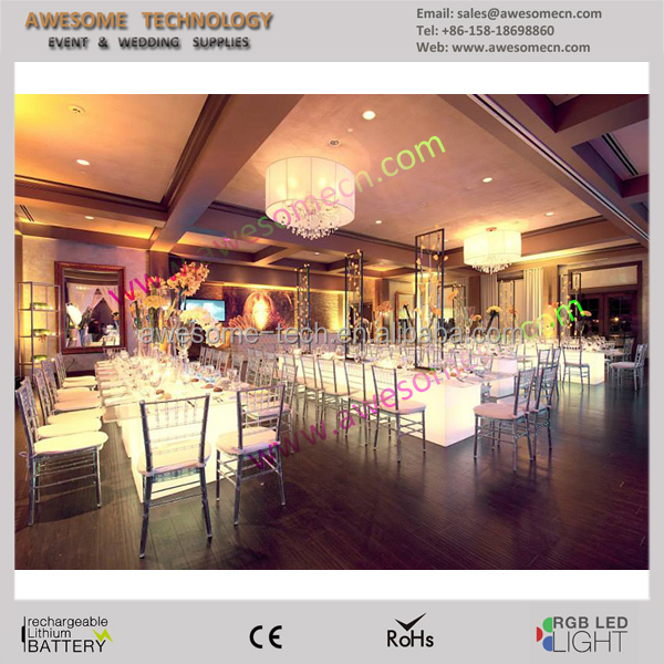 led glow longe extendable dining table for event wedding banquet