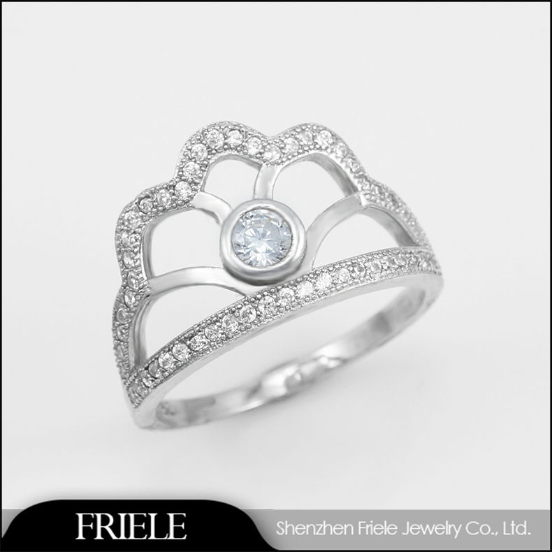 2014 fshion rings crown shaped cut 925 silver wholesale jewelry