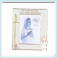 Beautiful porcelain communion holy religious girl photo frame