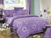 purple dandelion print 4pcs set 100% cotton satin bedsheets