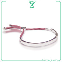 rhodium alloy velvet red string bracelet