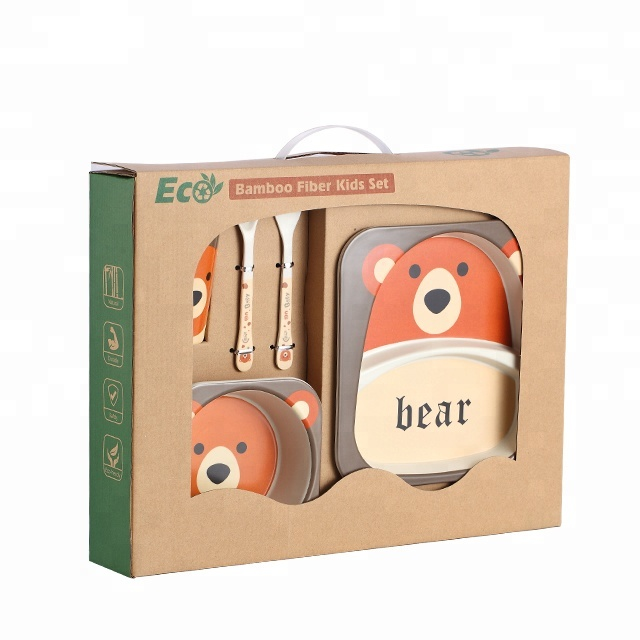 High Quality Bamboo Fiber Dinnerware Sets For Kids Square Plate Dish Set <strong>A001</strong>