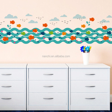 Abstract fish swim in the river wall stickers living room sofa kids rooms home wall decor hot selling cartoon fish wall art
