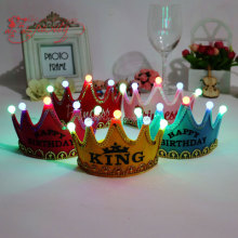 2015 Factory Price Free Sample Flashing Happy Birthday Tiaras Kids Birthday Party Occasion