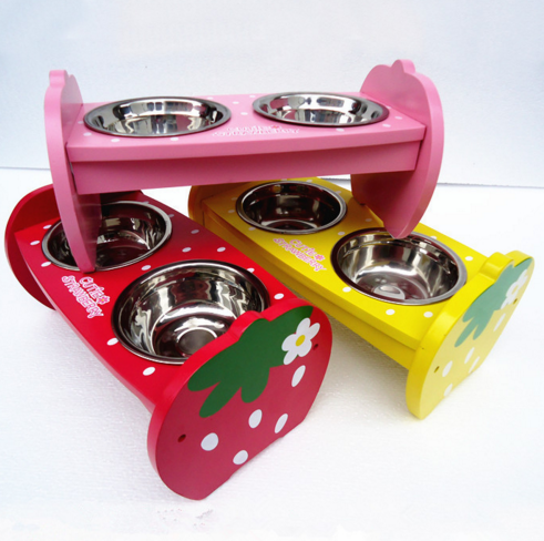 woodiness and Stainless steel double Bowls For Dog Pet food Basin Lovely design wooden table