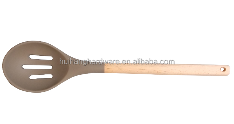 KC005D Manufacturer silicone kitchen utensils/silicone slotted spoon with beech wooden handle