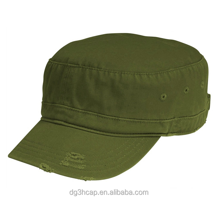 one color military caps distressed patchflat top army hat - Green