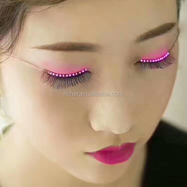 Halloween LED Strips False Eyelash Sticker 3d Led Lashes Eye Makeup Waterproof Light