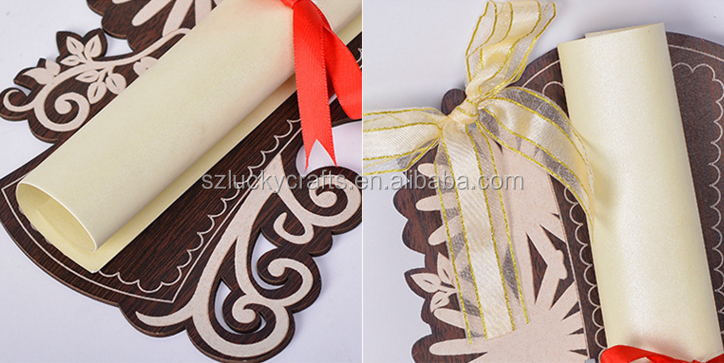 2016 Hot Customized Scroll Design Individual Hollow Carving Wooden Wedding Invitation Card for Party, Wedding, Birthday
