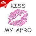 Bling Crystal Stones Iron on Kiss My Afro Rhinestone Motif Designs for Bags and Pillow