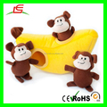 E119 Factory Produced Squeaky Plush Toy Monkey with Banana