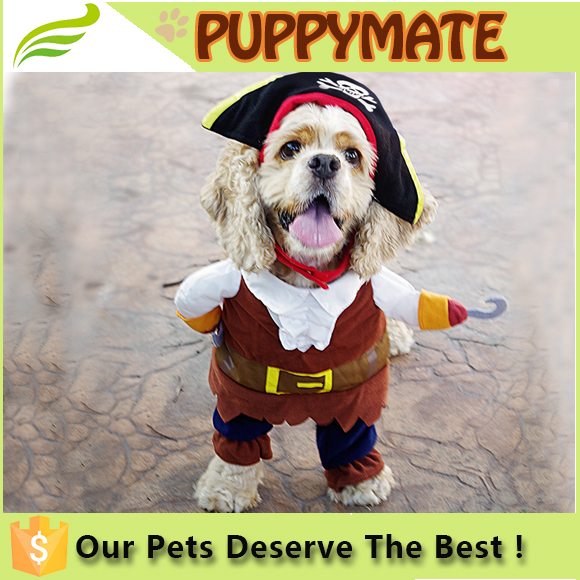 New Funny Pet Clothes Caribbean Pirate Dog Cat Costume Suit Corsair Dressing up Party Apparel Clothing for Cat Dog Plus Hat