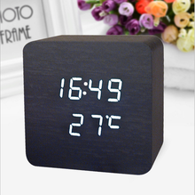 NEW Wooden Digital fancy Alarm Clock Desk LED clock