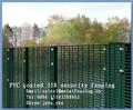 "Border protective PVC coated & hot dip galvanized 8 guage wire 1/2""x3"" mesh count welded mesh fence panel with H supporting post"