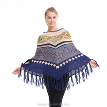 woman ugly christmas sweater loose flower pattern knit tassel poncho