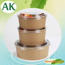 Disposable Fruit Salad Paper Containers with Plastic Lids/Take Away Food Containers for Noodles
