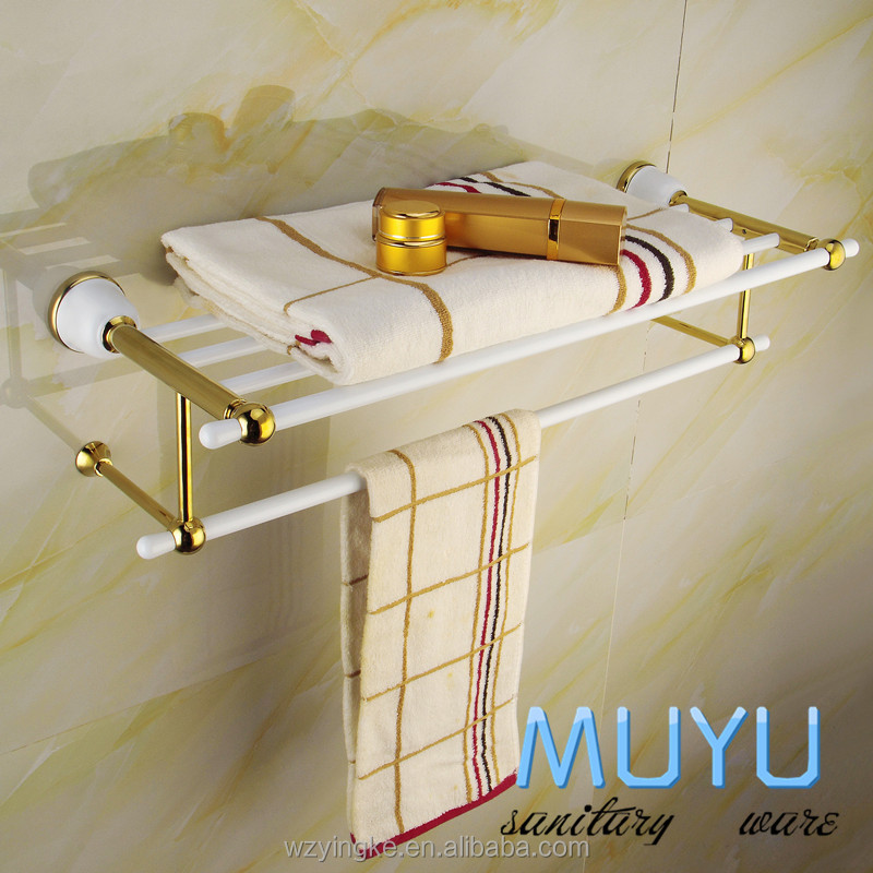 stainless steel +zinc gold plating metal hanging towel shelf, double deck towel holder, metal towel holder