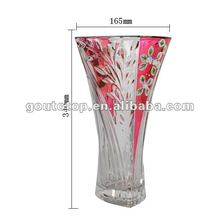 Decoration crystal glass flower vase hand painted 100%purity gold