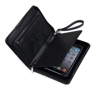 Top Quality Black Luxury Leather Portfolio with Wrist Strap for iPad Mini 4 and Small Notepad