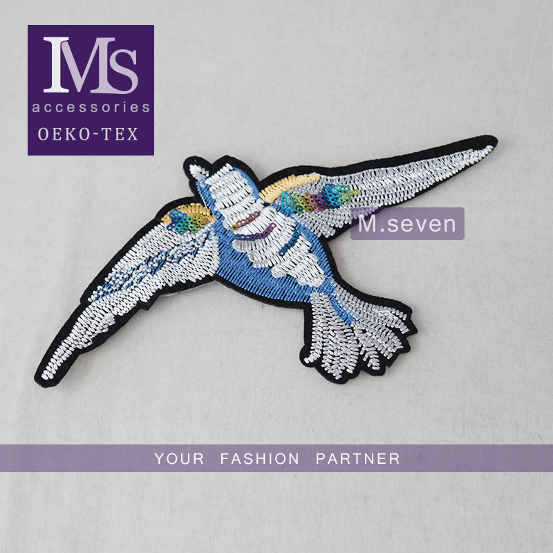 wholesale product shinning colorful sequin embroidery bird iron on patch bulk