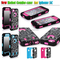 Laser carving checkered combo case PC + Silicone Combo Case for iPhone 5C