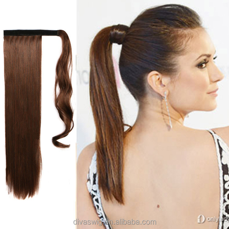 Wholesale 100% Indian Remy Wrap Around Ponytail Extension Drawstring Human Hair Pony tail