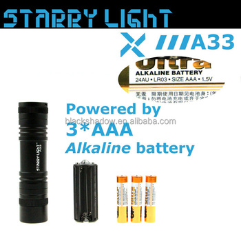 StarryLight A33 long burning time led flashlight with AAA battery carrier