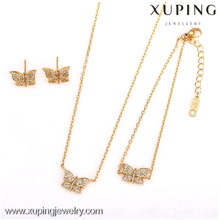 62538-Xuping Charm Ladies Newest style 3-Piece Butterfly Jewelry Set