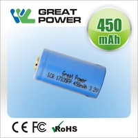 3.2v 300mah rechargeable cr123a 16340 17335 lifepo4 battery for electric drill