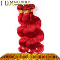 3pcs Colorful Hot Red Full Cuticle Body Wave Virgin Human Hair Weaves Wefts