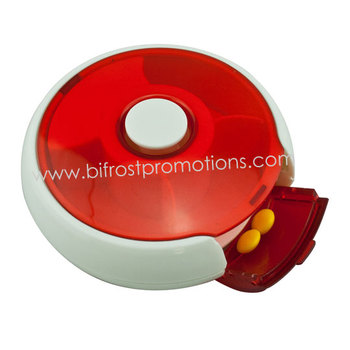 Round Plastic Pill Box With Lock (3 Compartment)
