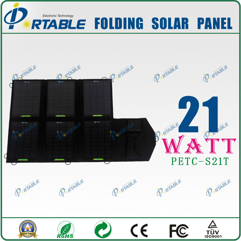 21W solar charger for mobile for travel with dual voltage controller