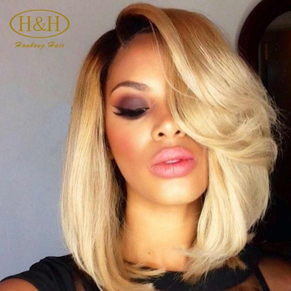 Wholesale cheap ombre color 1b/613 honey blonde short bob remy indian human hair full lace wig for sale
