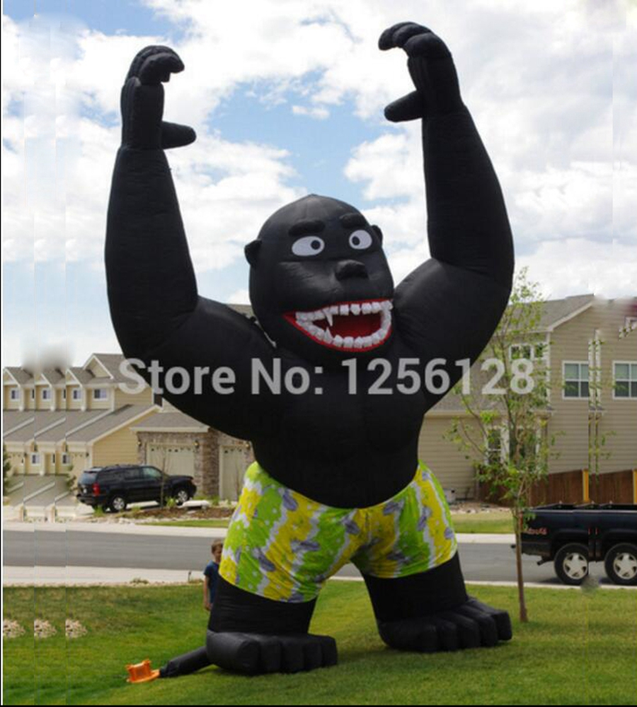 7m H Giant outdoor Black Inflatable Gorilla for Advertising party supplies