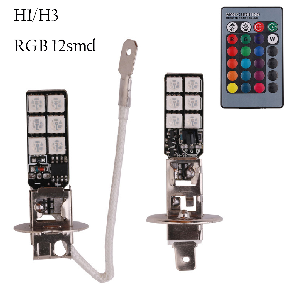 2pcs RGB LED Auto Car Headlight H1 H3 5050 LED 12 SMD RGB Fog Light Head Lamp Bulb With Remote Control Car Styling