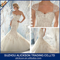 Wonderful Embroider Beads Working Sweetheart Open Back Mermaid Wedding Dress With Detachable Cap Sleeve