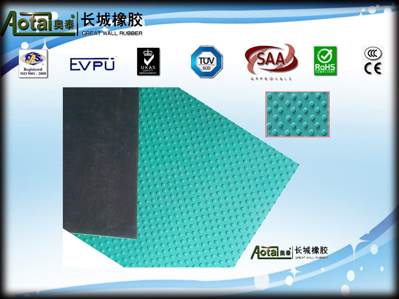 Anti slip rubber flooring mat round button checker ribbed flooring mat