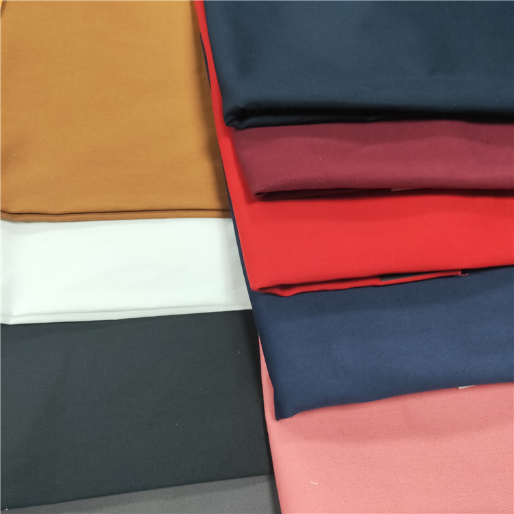 Hemp Organic 100% Cotton spandex plain sateen Twill Fabric For Trousers